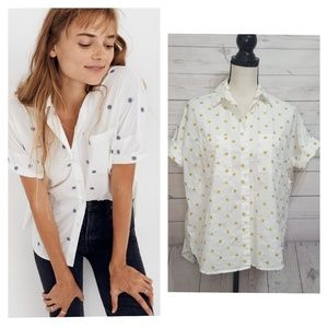 Madewell Daisy Embroidered Couier Shirt | Size XXS